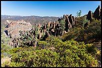 Chaparral and spires. Pinnacles National Park, California, USA. (color)