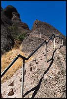 High Peaks trails with stairs carved in stone. Pinnacles National Park, California, USA. (color)