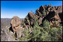 Rocky towers from ancient volcanic field. Pinnacles National Park, California, USA. (color)