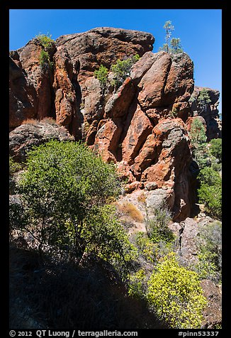 Cliffs of reddish rock. Pinnacles National Park (color)