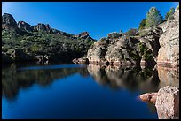 Early morning reflections, Bear Gulch Reservoir. Pinnacles National Park, California, USA. (color)