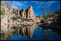 Spire and reflection in glassy water, Bear Gulch Reservoir. Pinnacles National Park, California, USA. (color)