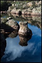 Rocks and reflections, Bear Gulch Reservoir. Pinnacles National Park, California, USA. (color)