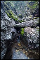Chalone Creek flowing amongst boulders. Pinnacles National Park, California, USA. (color)