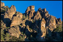 High Peaks spires, late afternoon. Pinnacles National Park, California, USA. (color)