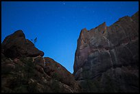 Machete Ridge at night with stary sky. Pinnacles National Park, California, USA. (color)