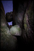 Boulders wedged in Balconies Cave at night. Pinnacles National Park ( color)
