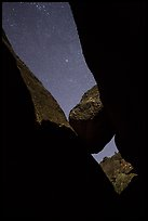 Sky with stars above Balconies Cave. Pinnacles National Park, California, USA. (color)