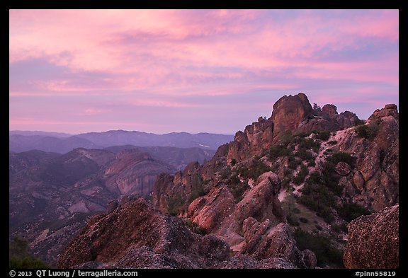High Peaks at sunset. Pinnacles National Park (color)