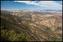 Looking towards San Andreas rift zone from Chalone Peak. Pinnacles National Park, California, USA. (color)