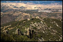 Pinnacles and hills from South Chalone Peak. Pinnacles National Park ( color)