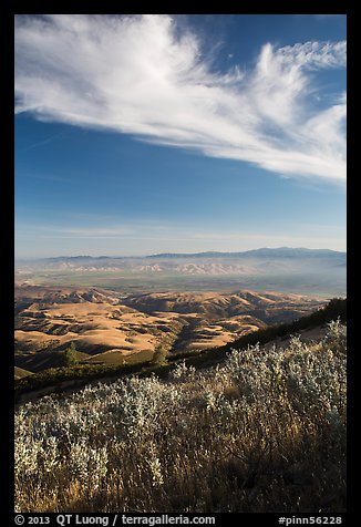 Salinas Valley from South Chalone Peak, late afternoon. Pinnacles National Park (color)