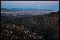 Moonrise from North Chalone Peak. Pinnacles National Park, California, USA. (color)