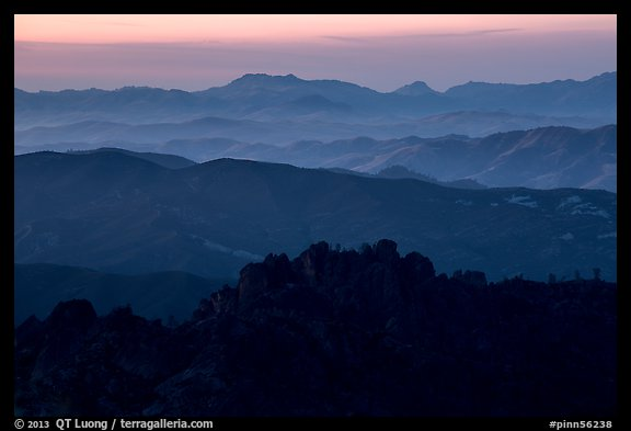 High Peaks and Gabilan Mountains ridges at sunset. Pinnacles National Park (color)