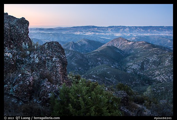 View from North Chalone Peak at dusk. Pinnacles National Park (color)