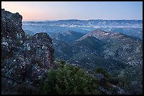 View from North Chalone Peak at dusk. Pinnacles National Park ( color)