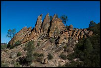 Rock pinnacles by lit by full moon. Pinnacles National Park ( color)