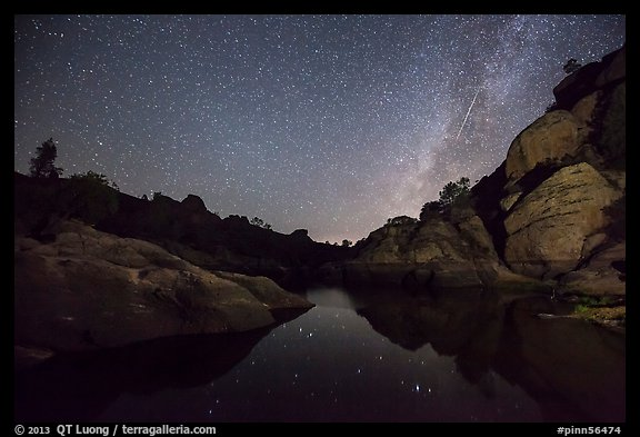 Bear Gulch Reservoir at night with Perseid Meteor. Pinnacles National Park (color)