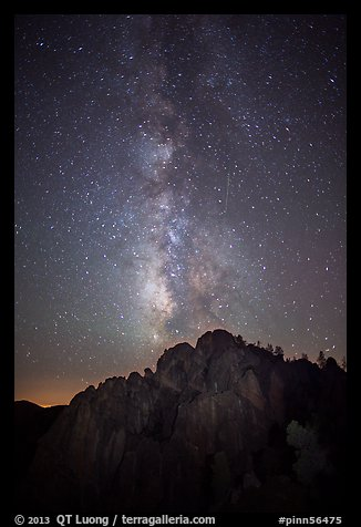 High Peaks at night with Milky Way and meteor. Pinnacles National Park (color)