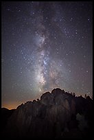 High Peaks at night with Milky Way and meteor. Pinnacles National Park, California, USA. (color)