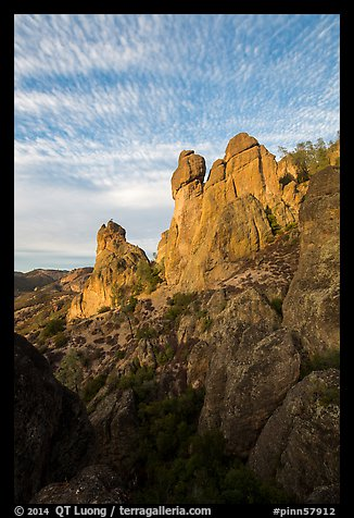 Rock towers and cirrocumulus clouds. Pinnacles National Park (color)