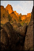 Pinnacle rocks above at sunset. Pinnacles National Park ( color)