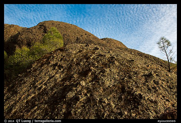 Rock with knobs and cobbles and sky with cloudlets. Pinnacles National Park (color)