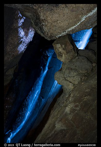 Waterfall, Lower Bear Gulch Cave. Pinnacles National Park (color)