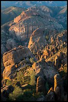 Rock spires, Machete Ridge, and Balconies in late afternoon. Pinnacles National Park ( color)