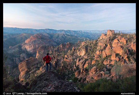 Visitor looking, Balconies and Square Block at dusk. Pinnacles National Park (color)