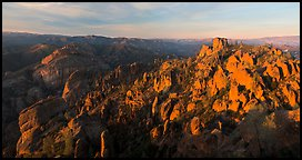 Balconies cliffs and rock pinnacles at sunset. Pinnacles National Park (Panoramic color)