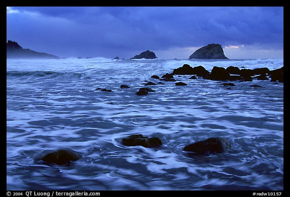 Turbulent waters, stormy dusk, False Klamath Cove. Redwood National Park (color)