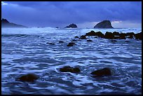 Turbulent waters, stormy dusk, False Klamath Cove. Redwood National Park, California, USA.