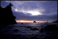 Seastacks and clouds, Hidden Beach, sunset. Redwood National Park, California, USA.
