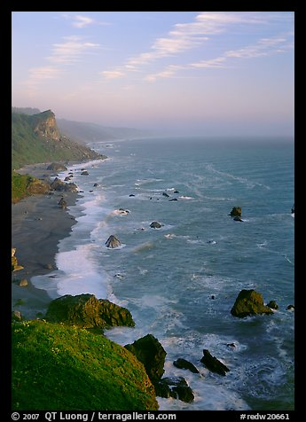 Coast from High Bluff overlook, sunset. Redwood National Park (color)
