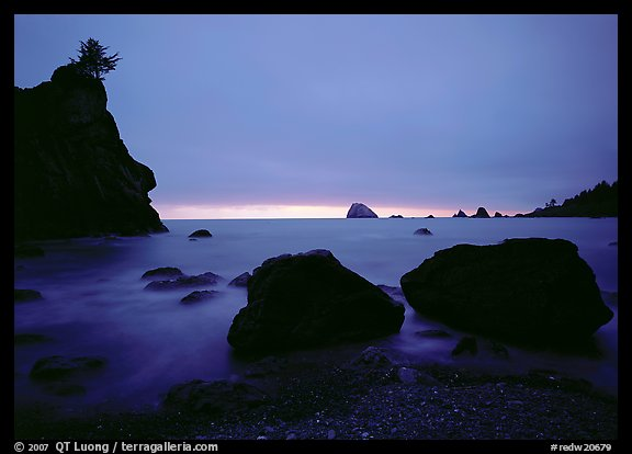 Rocks and seastacks, cloudy sunset. Redwood National Park, California, USA.
