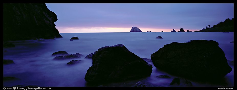 Boulders and seastacks and dusk. Redwood National Park (color)