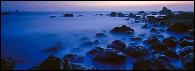 Etheral ocean motion at dusk. Redwood National Park (Panoramic color)