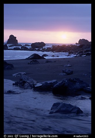 Stream on beach at sunset, False Klamath cove. Redwood National Park (color)