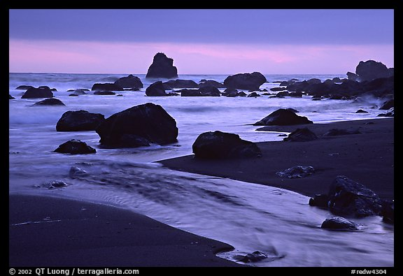 Stream, rocks, and ocean at dusk, False Klamath cove. Redwood National Park (color)