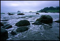 Boulder and surf, Hidden Beach. Redwood National Park, California, USA.