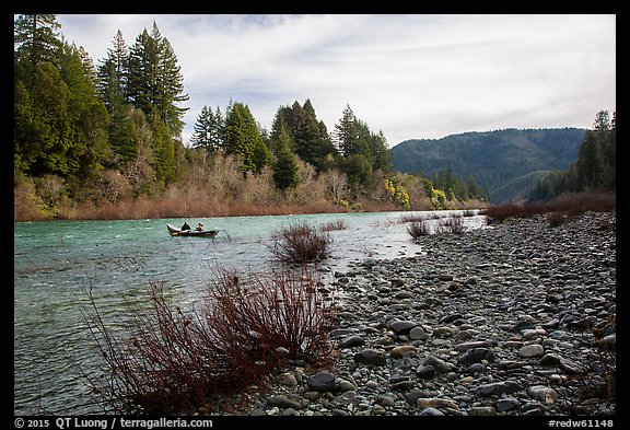 Smith River and boaters, Jedediah Smith Redwoods State Park. Redwood National Park (color)