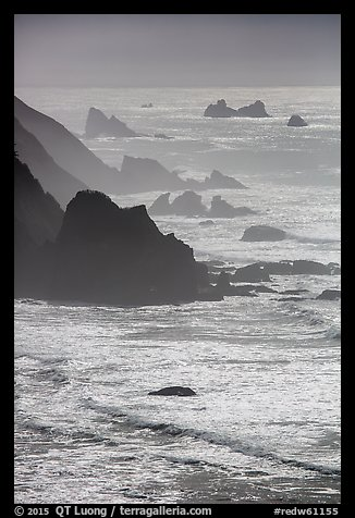 Ragged coastline near Enderts Beach. Redwood National Park (color)