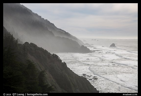 Hills plunge into ocean near Enderts Beach. Redwood National Park (color)