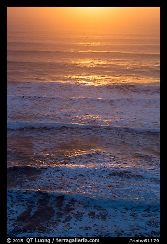 Waves lit by setting sun from above. Redwood National Park (color)