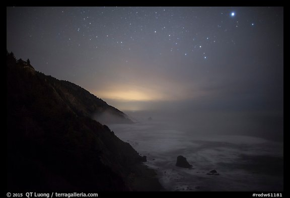 Coastal hills above Enderts Beach at night. Redwood National Park (color)
