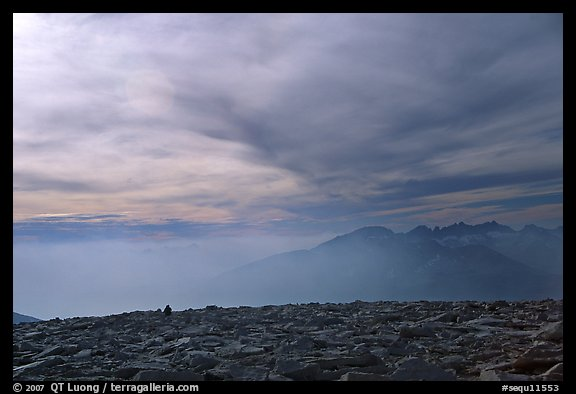 Clouds and distant range from Mt Whitney summit. Sequoia National Park (color)