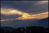 Clouds and mountain range at sunset. Sequoia National Park, California, USA.