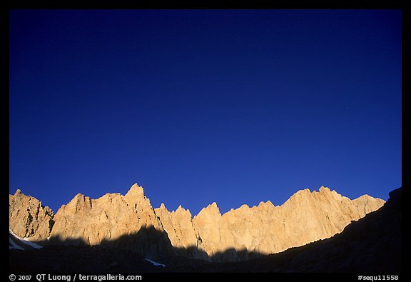 Mt Whitney range at sunrise and blue sky. Sequoia National Park (color)