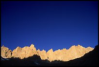 Mt Whitney range at sunrise and blue sky. Sequoia National Park, California, USA.